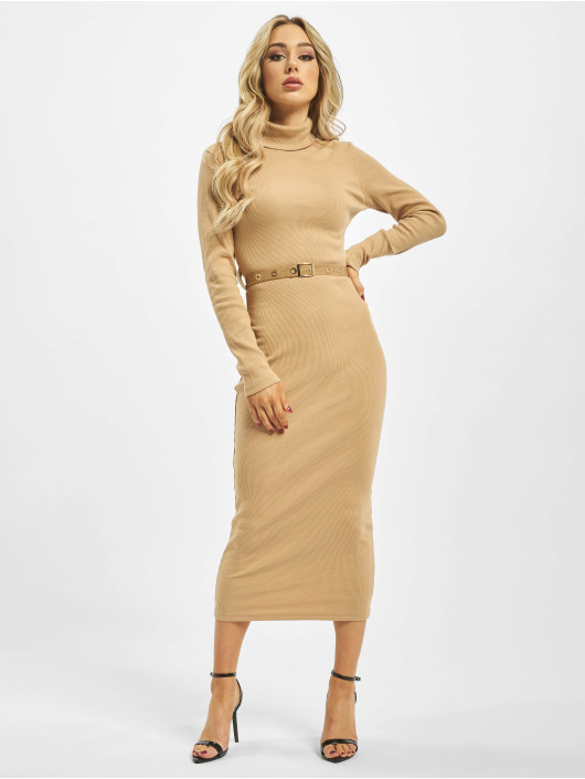 Missguided Sukienki Roll Neck bezowy