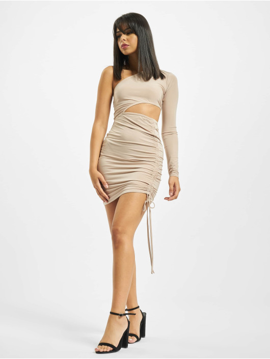 Missguided Sukienki Slinky One Shoulder Cut Out Mini bezowy