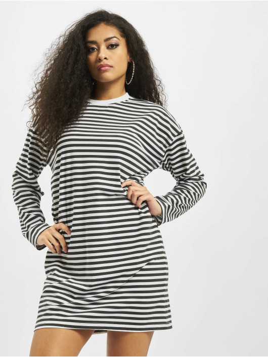 Missguided Sukienki Oversized Longsleeve Stripe T-Shirt bialy