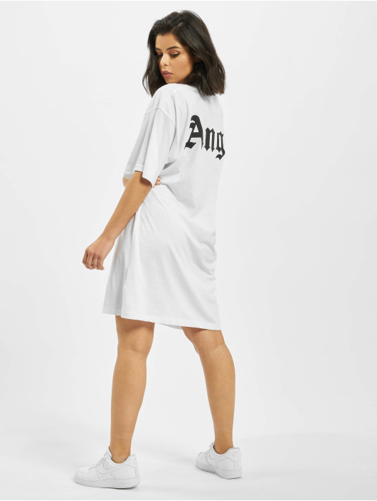 Missguided Sukienki Angel Back Print Oversized bialy