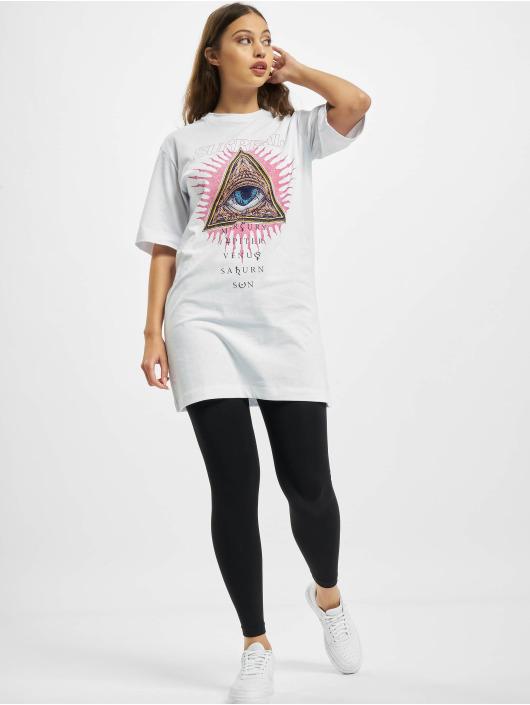 Missguided Sukienki Oversized Tshirt Short Sleeve Eye bialy