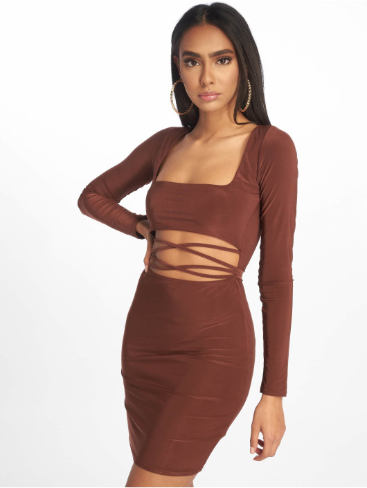 Missguided Sukienki Cut Out Slinky Long Sleeve Mini brazowy