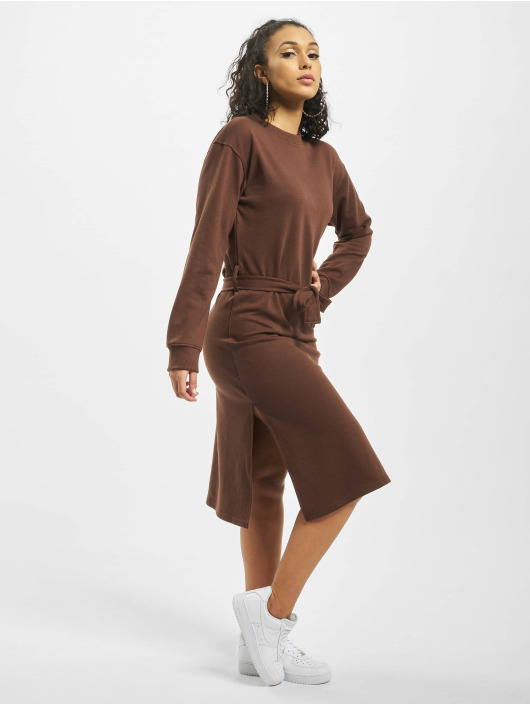Missguided Sukienki Tie Belt Midi Sweater brazowy