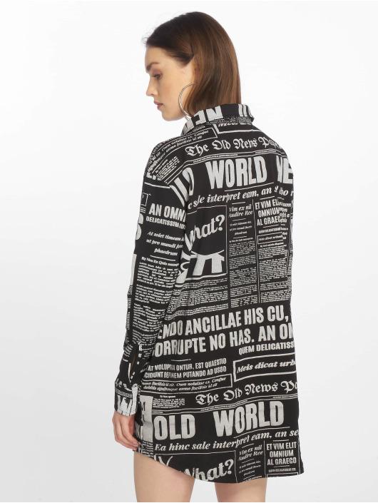 Missguided Sukienki Oversized Jersey Shirt Newspaper czarny