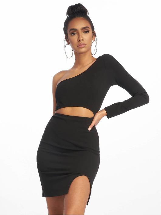Missguided Sukienki One Shoulder Cut Out Mini czarny