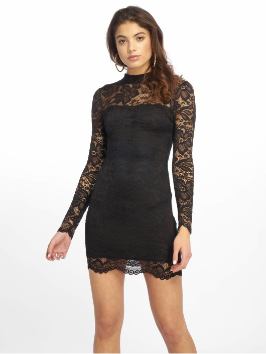 Missguided Sukienki High Neck Long Sleeve Lace Midi czarny