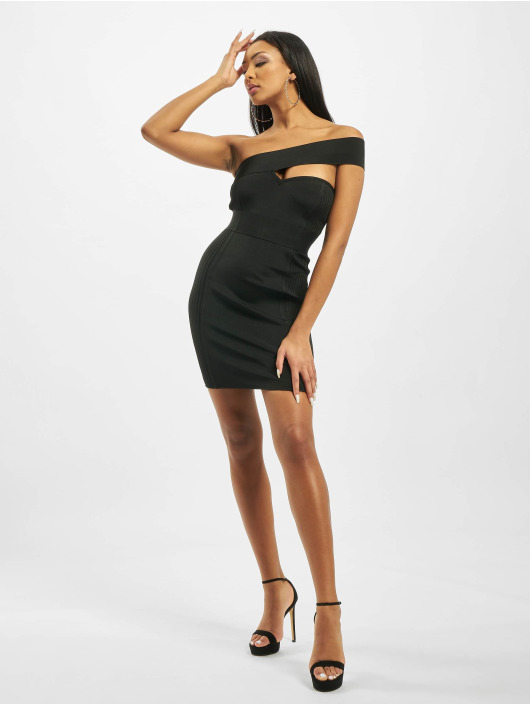 Missguided Sukienki One Shoulder Bandage Ribbed czarny