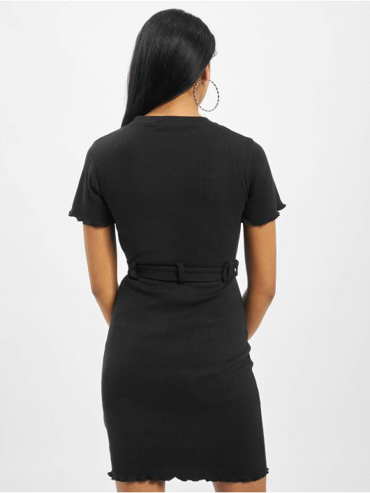 Missguided Sukienki Tall Belted Crew Neck Rib Mini czarny