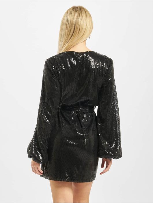 Missguided Sukienki Wrap Balloon Sleeve Sequin czarny