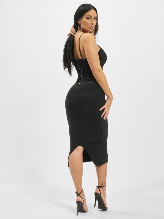Missguided Sukienki Ribbed X Front Cami Bandage Midaxi czarny