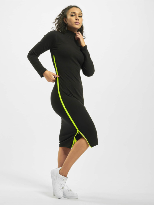 Missguided Sukienki Rib Highneck Longsleeve Chunky Contrast Zip czarny