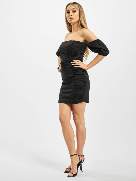 Missguided Sukienki Cotton Poplin Ruched czarny