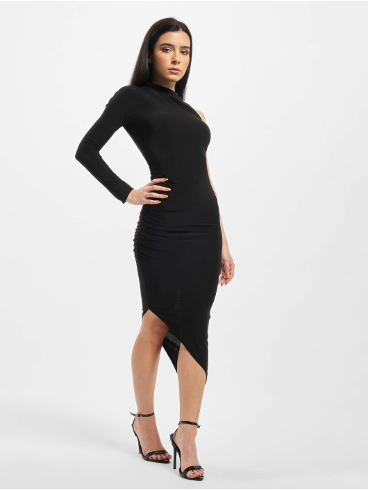 Missguided Sukienki Slinky One Sleeve High Neck czarny