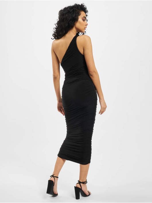 Missguided Sukienki Slinky Ruched One Shoulder czarny