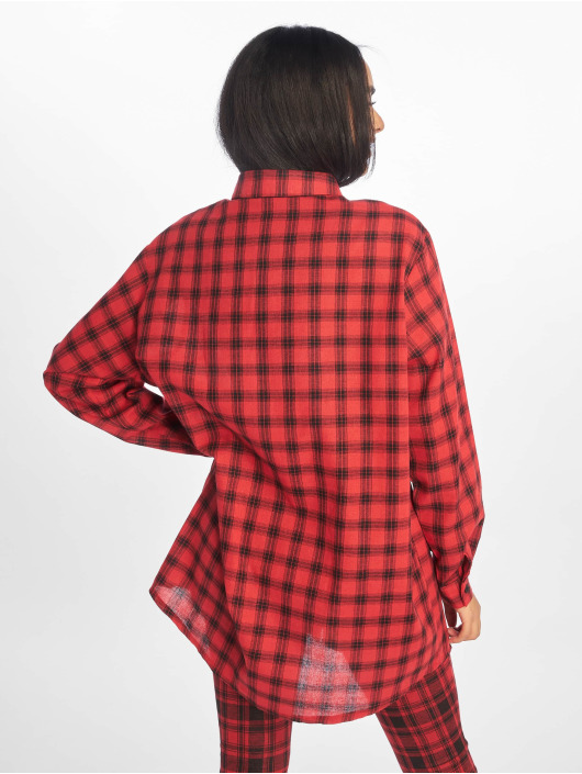 Missguided Sukienki Oversized Shirt Dress Check czerwony