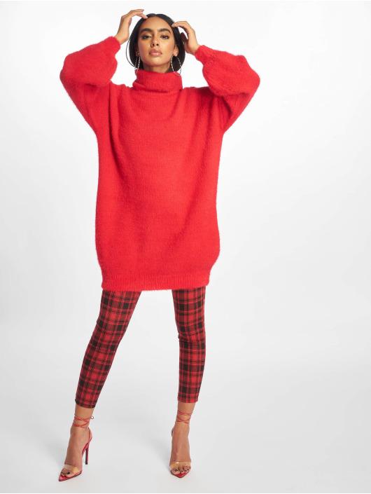 Missguided Sukienki Premium Fluffy Roll Neck czerwony