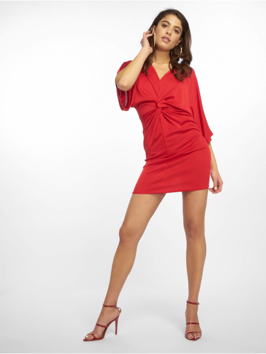 Missguided Sukienki Kimono Sleeve Twist czerwony