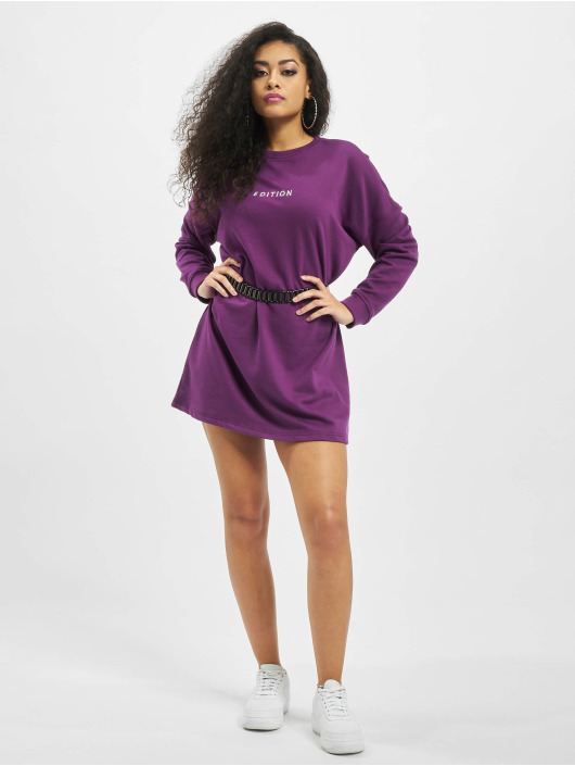 Missguided Sukienki Oversized Sweater Edition fioletowy