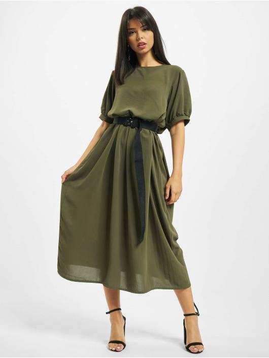 Missguided Sukienki Puff Sleeve Midi Smock khaki
