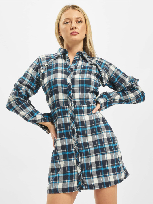 Missguided Sukienki Ruffle Sleeve niebieski