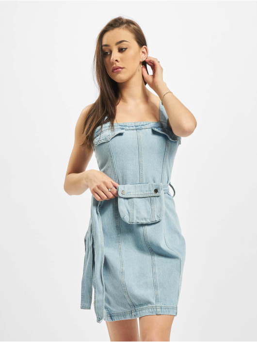 Missguided Sukienki Zip Up With Belt Bag niebieski
