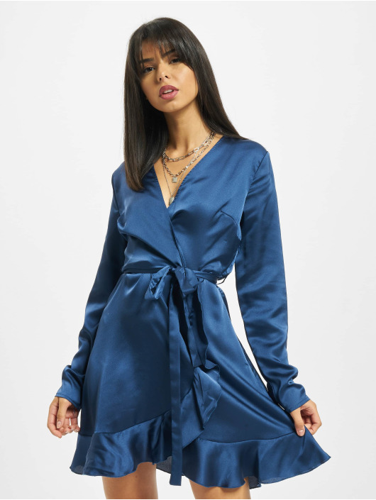 Missguided Sukienki Ruffle Hem Wrap Tea niebieski