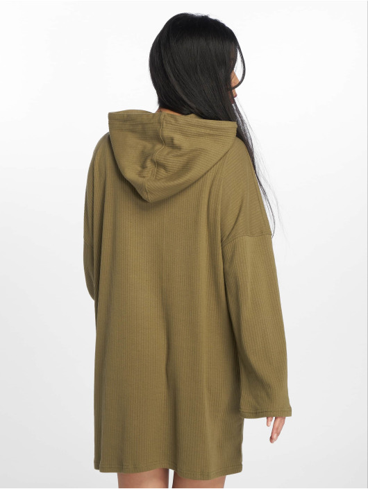 Missguided Sukienki Oversized Hooded Ribbed oliwkowy