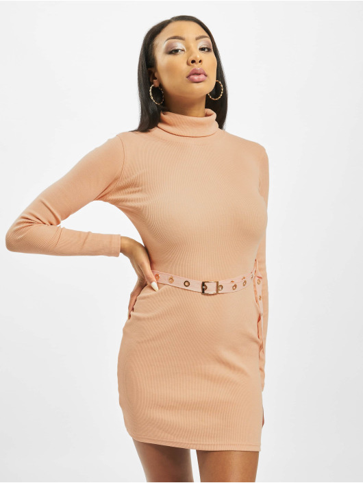 Missguided Sukienki Roll Neck Belted Longsleeve Mini pomaranczowy