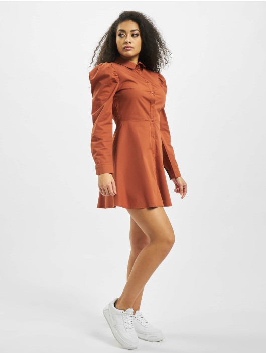 Missguided Sukienki Puff Sleeve Skater pomaranczowy