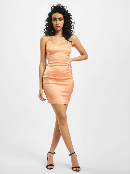 Missguided Sukienki Stretch Satin Clear Strap pomaranczowy