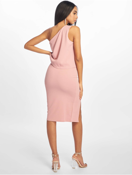 Missguided Sukienki Crepe One Shoulder Overlay Split Midi rózowy