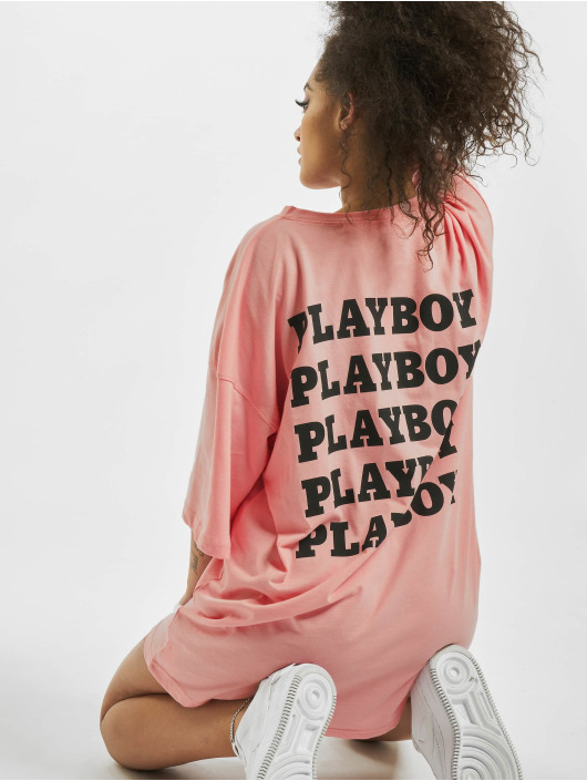 Missguided Sukienki Playboy Repeat Slogan T-Shirt rózowy