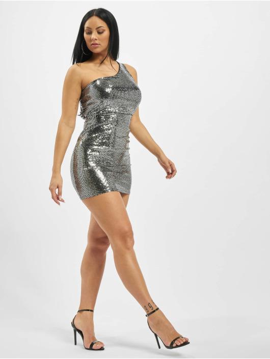 Missguided Sukienki Sequin Puff One Shoulder srebrny
