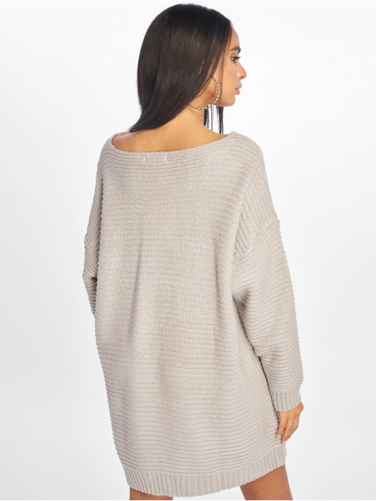 Missguided Sukienki V Neck Ribbed Knitted Jumper szary