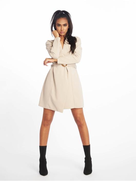 Missguided Sukienki Long Sleeve Belted Blazer szary