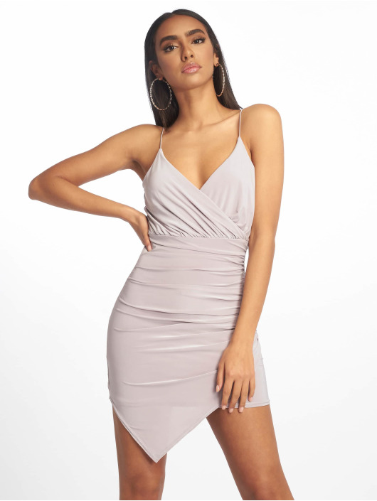 Missguided Sukienki Strappy Slinky Wrap Bodycon szary