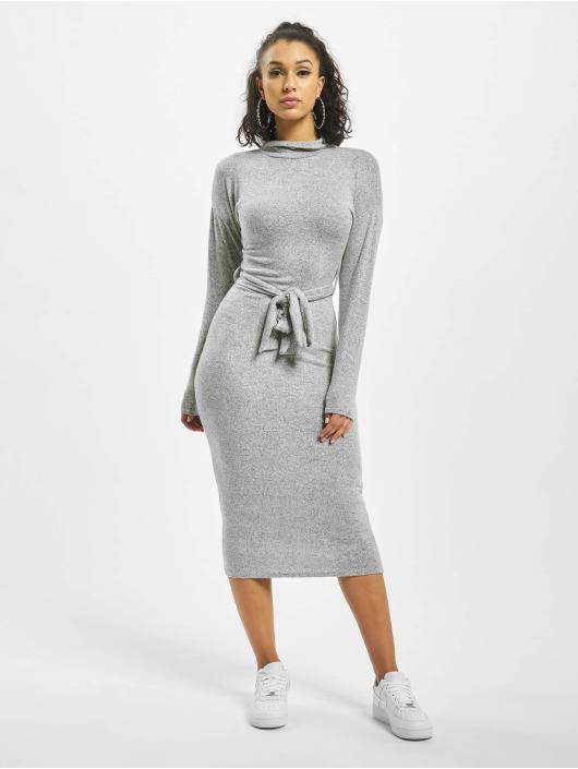 Missguided Sukienki Brushed Knit High Neck Belted Midi szary