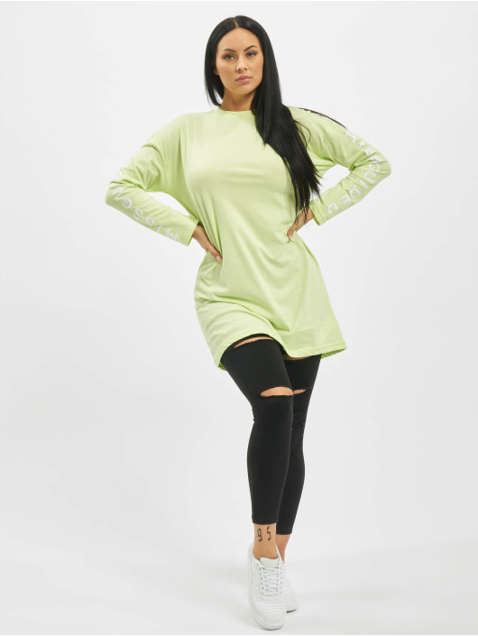 Missguided Sukienki Oversized Longsleeve T-Shirt Branded zielony