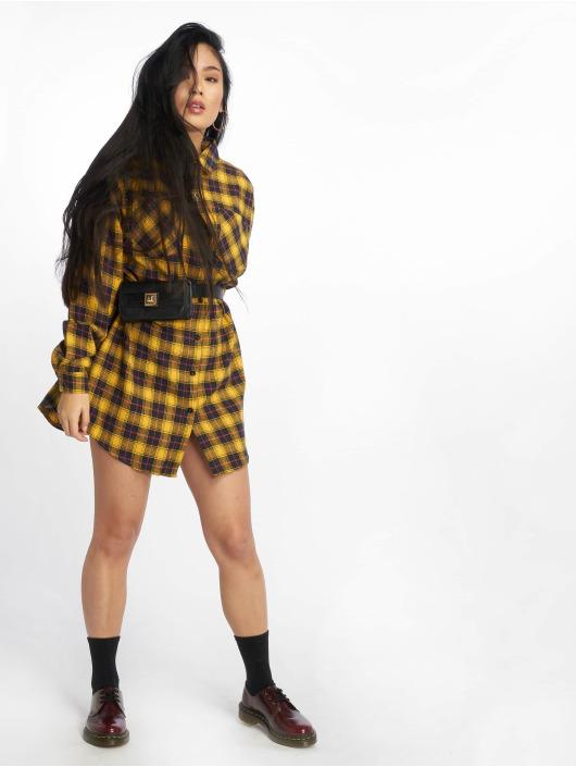 Missguided Sukienki Oversized Check zólty