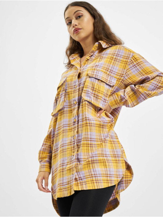 Missguided Sukienki Oversized Shirt Check zólty