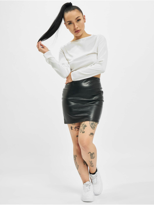 Missguided Sukně Croc Faux Leather čern