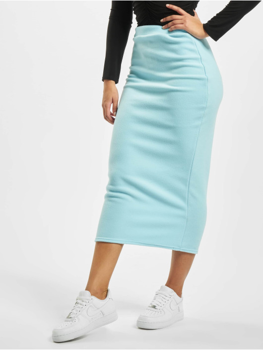 Missguided Sukně Fleece Tie Waist Midi Co-Ord modrý