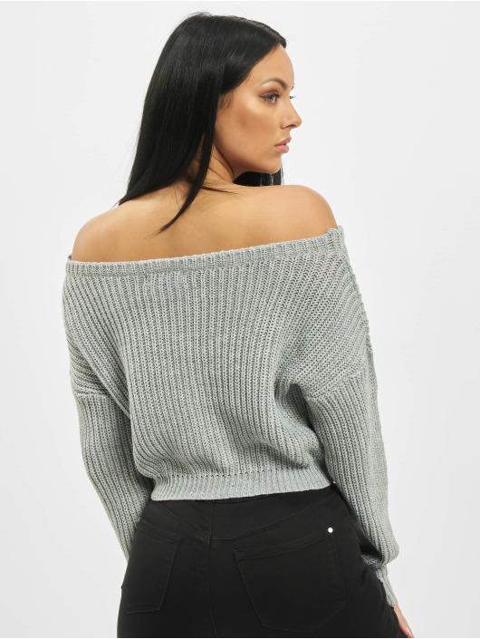 Missguided Svetry Petite Core Off Shoulder šedá