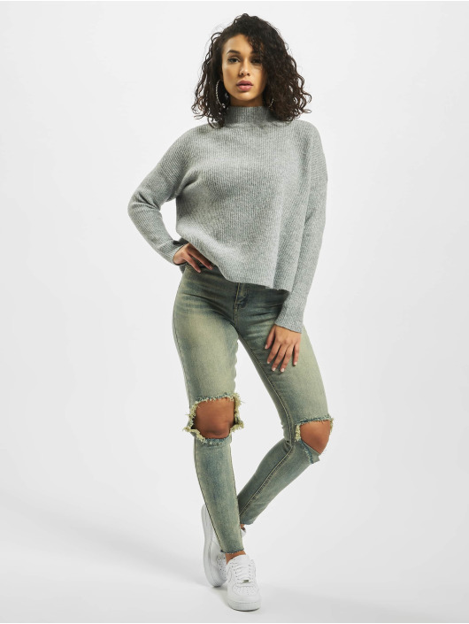 Missguided Svetry Petite Cut Out Back Crew Neck šedá