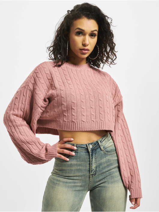 Missguided Svetry Cable Batwing Cropped Co Ord růžový