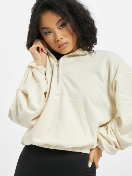 Missguided Sweat & Pull Half Zip Kangroo Pocket blanc