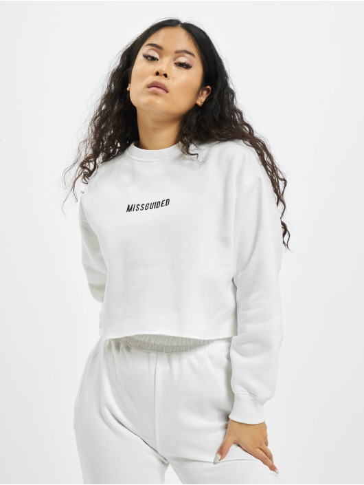 Missguided Sweat & Pull Petite Branded Cropped blanc
