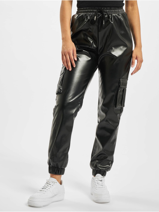 Missguided Sweat Pant Contrast Stitch PU Utility black