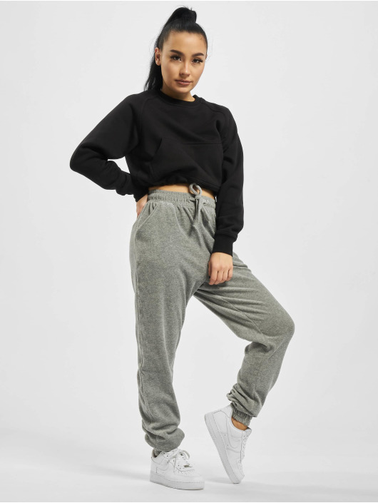 Missguided Sweat Pant Ribbed Velour Lounge grey