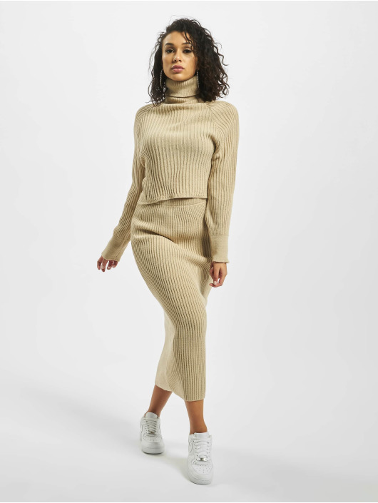 Missguided Swetry Roll Neck Batwing Crop Co Ord bezowy